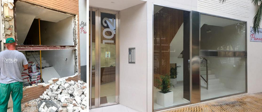 antes y después de la reforma de portal en edificio de viviendas en valencia
