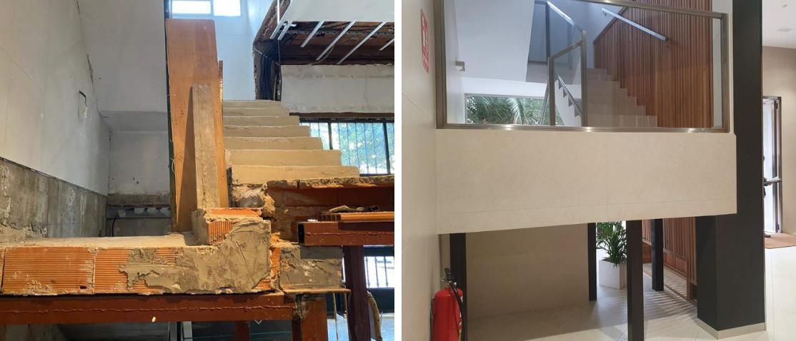 antes y después de la reforma de escalera en zaguan de patio de vecinos