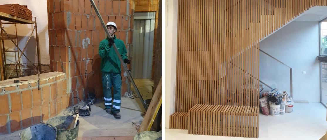 antes y después de la reforma de zaguan de patio de vecinos valencia